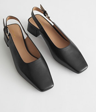 Squared Leather Heeled Mules