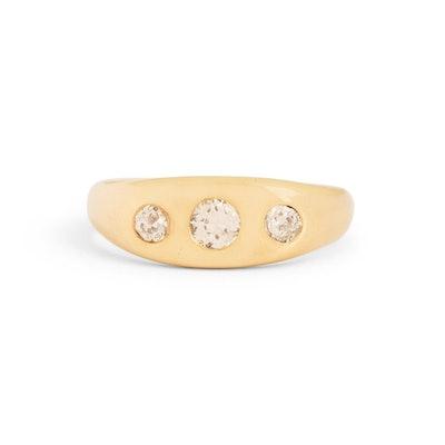 Three-Stone Old European Cut Diamond 14k Gold Ring
