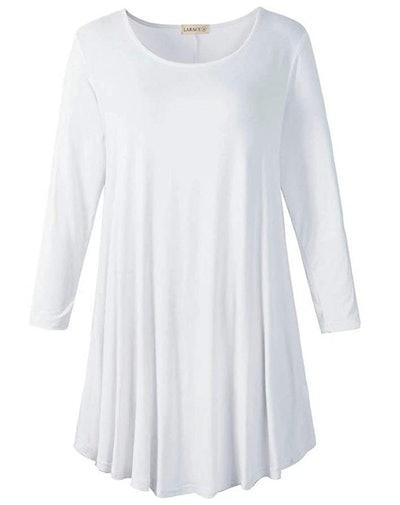 LARACE 3/4 Sleeve Fit Flare Tunic Top