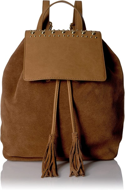 The Fix Avery Studded Top Flap Suede Backpack