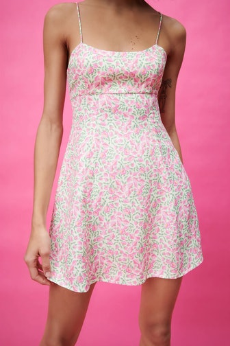 Satin Effect Floral Print Dress