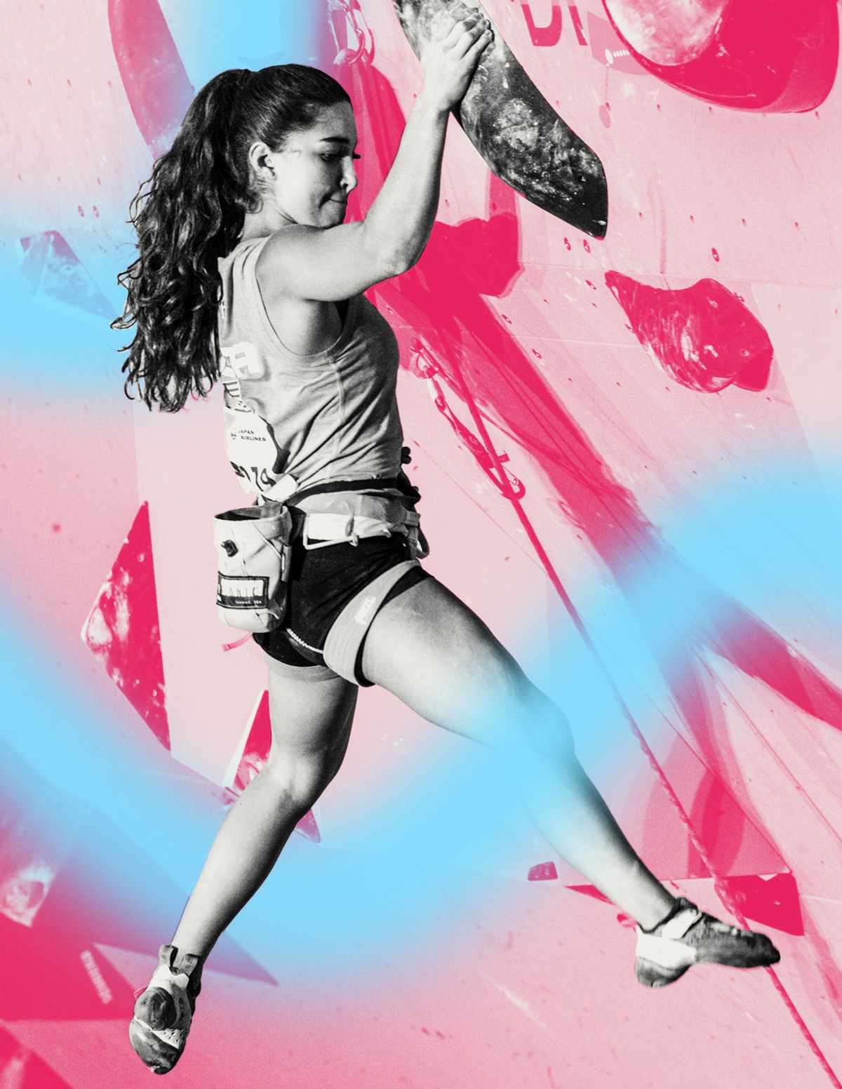 Climber Brooke Raboutou scales a wall, with the image seen in pink and blue