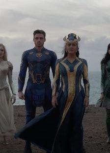 Eternals crew on a beach
