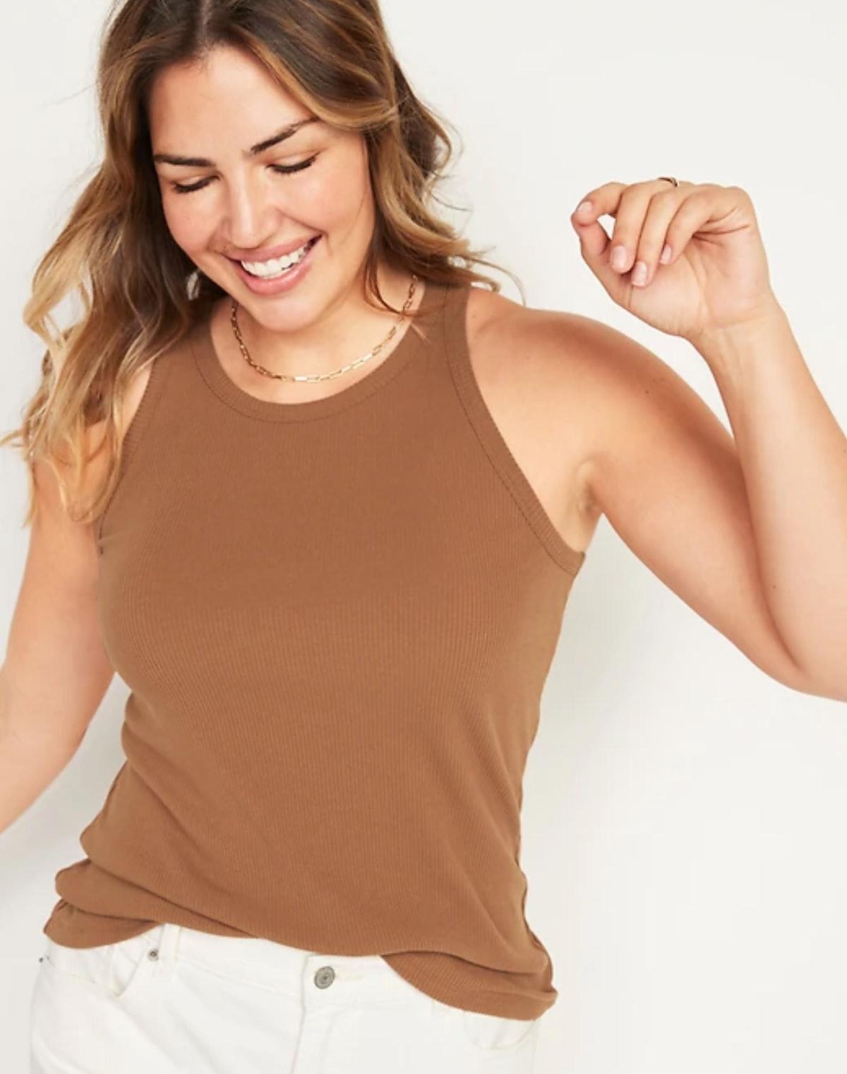 Slim-Fit Rib-Knit Tank Top for Women