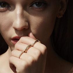 Model wearing KATKIM eternity rings.
