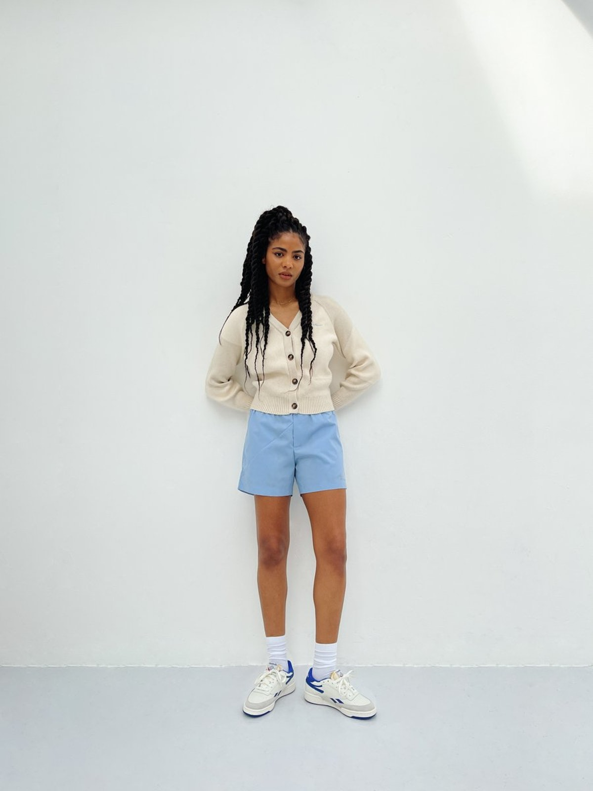 Deconstructed Cotton Shorts Light Blue