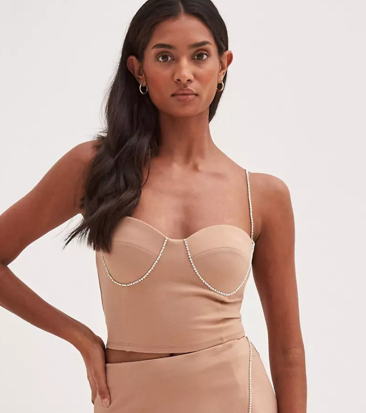 4th & Reckless embellished corset in camel