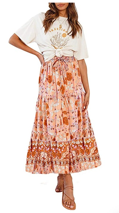 MEROKEETY Midi Skirt