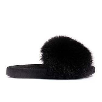 Confetti Black Fox Fur Slides