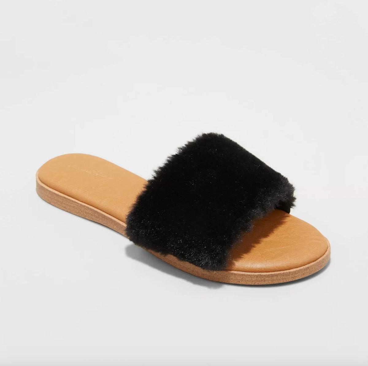 Kara Faux Fur Slide Sandals