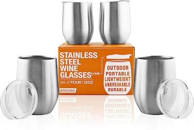 Brovino Stainless Steel Wine Tubmlers (Set of 4)