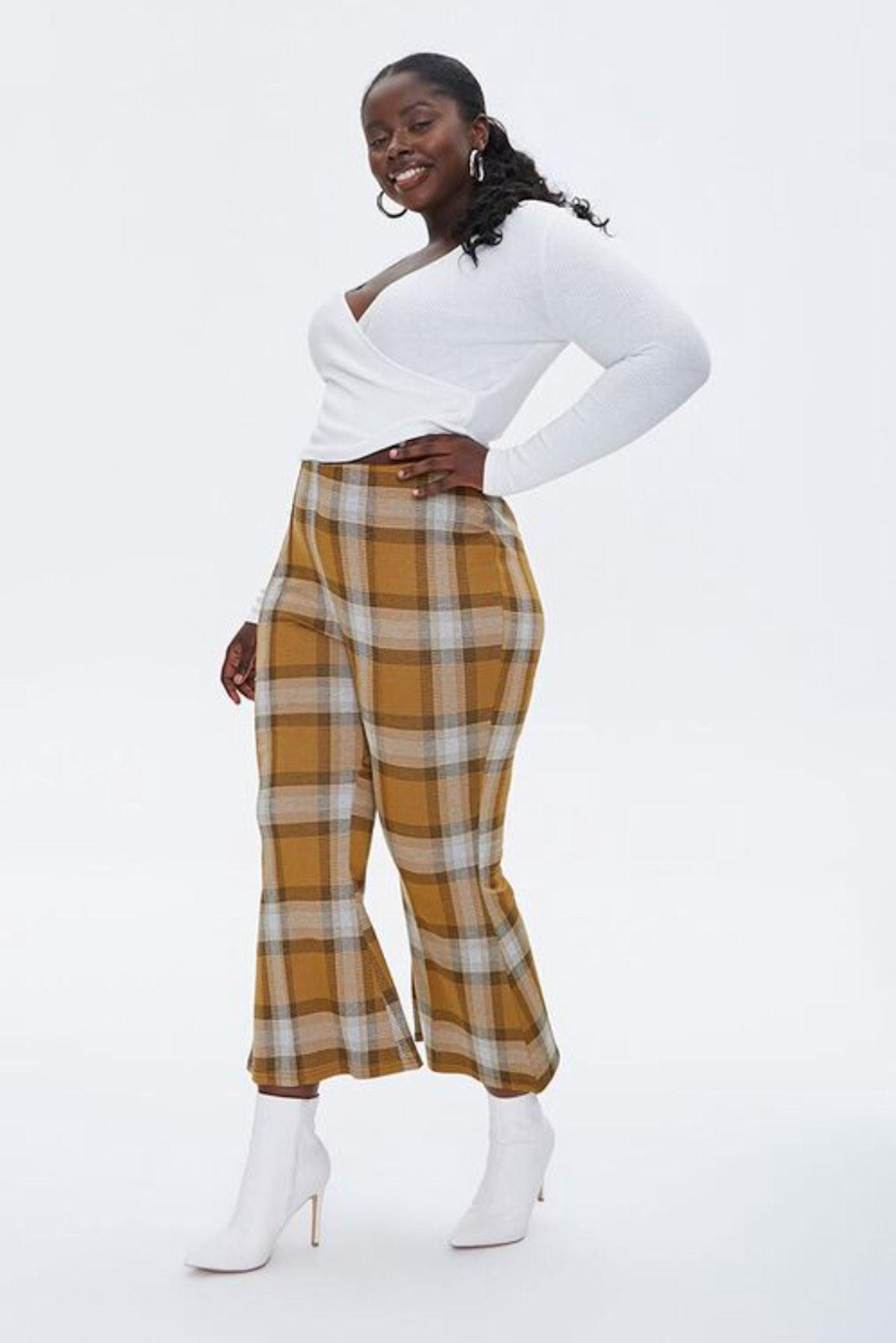 Plus Size Plaid Flare-Leg Pants