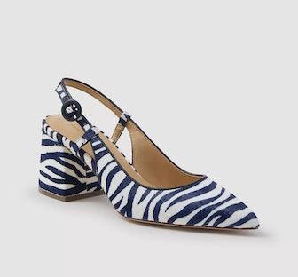 Esme Zebra Print Haircalf Block Heel Slingback Pumps