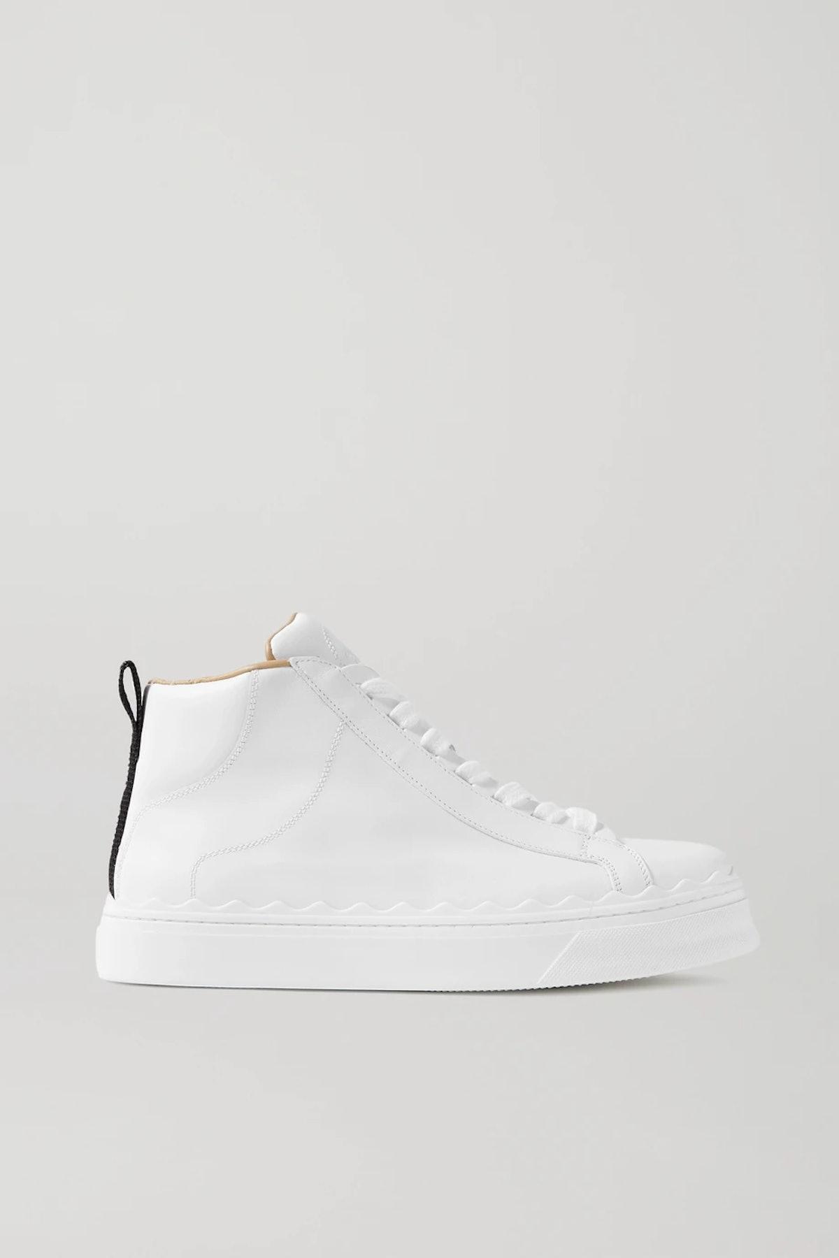 Lauren Scalloped Leather High-Top Sneakers