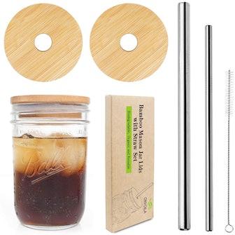 CNVOILA Mason Jar Lids With Straw (5 Pieces)