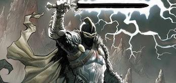 Black Knight holding the Ebony Blade