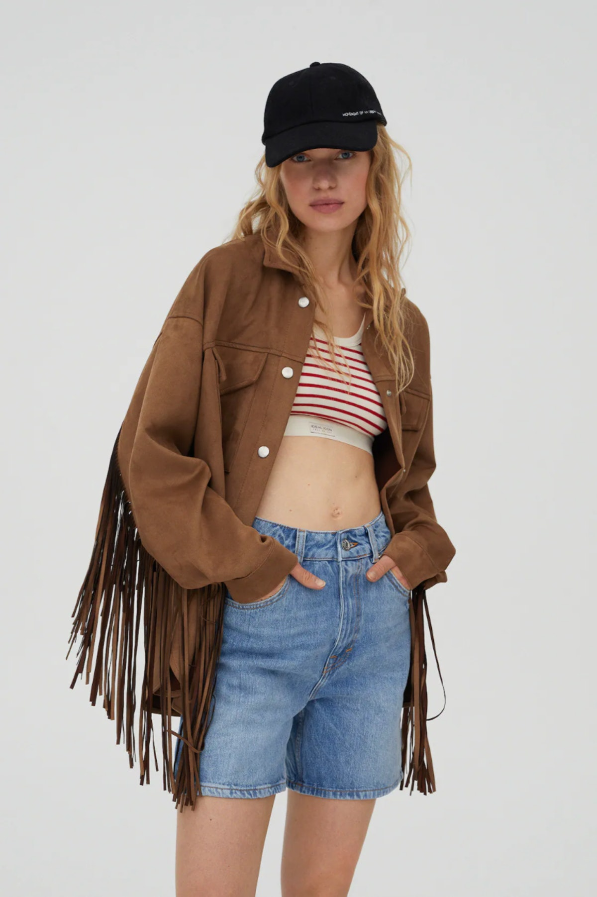 Faux Suede Overshirt With Fringe