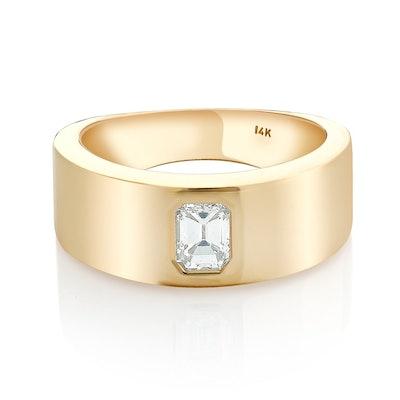 Emerald Cut Diamond Flush Setting Engagement Ring