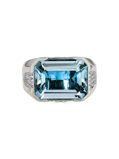 Pietra 18K White Gold, Blue Topaz & Diamond Ring