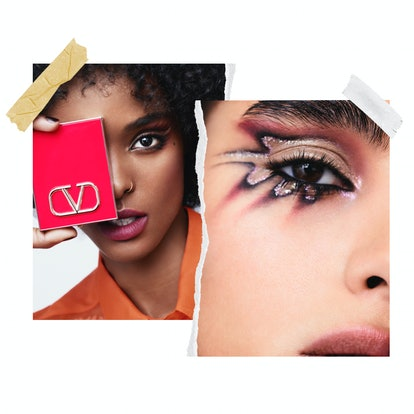 Two images from the Valentino Beauty campaign. The luxury brand's very first makeup collection launches later in 2021.