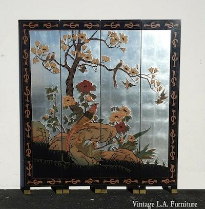 Vintage Chinese Asian Silver Leaf Four Panel Coromandel Screen Flora Crane Bird