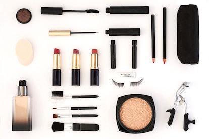 Makeup product flatlay