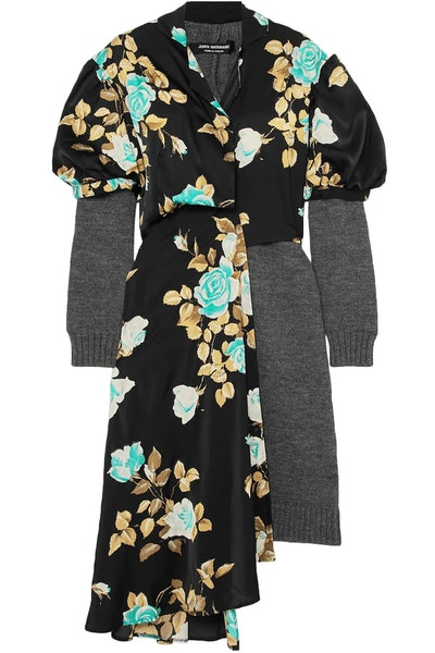 Layered Wool and Floral Print Satin Dress