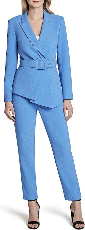 Belted Asymmetric Pebble Crepe Pant Suit