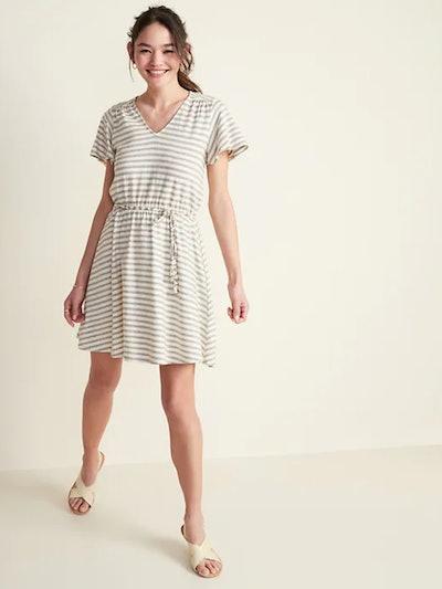 Waist-Defined Jacquard-Stripe Tie-Belt Dress for Women