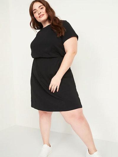 Waist-Defined Slub-Knit Plus-Size T-Shirt Dress