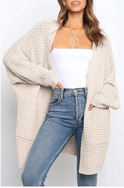 YIBOCK Chunky Cable Knit Cardigan Sweater