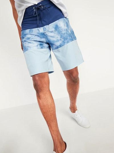 Color-Blocked Built-In Flex Board Shorts for Men