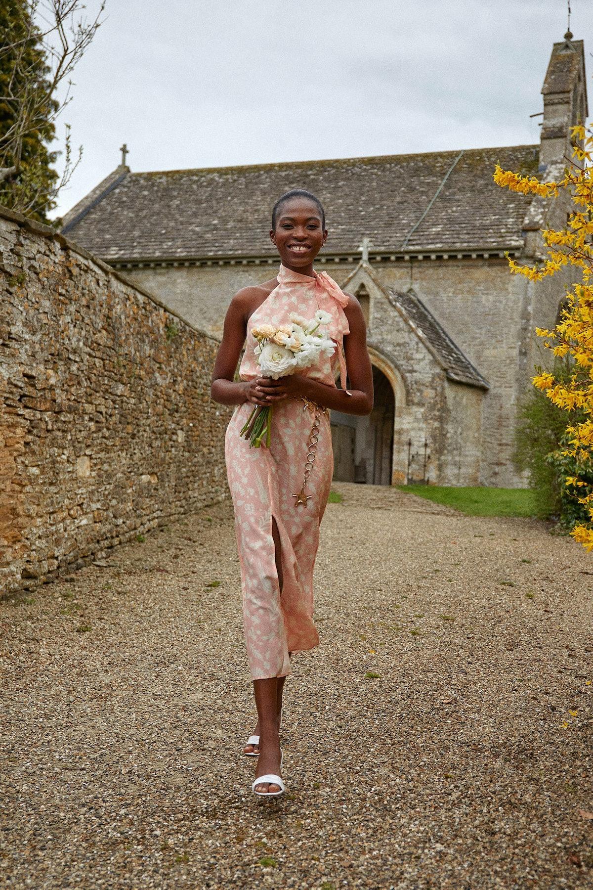 Model wearing RIXO bridesmaid dress.