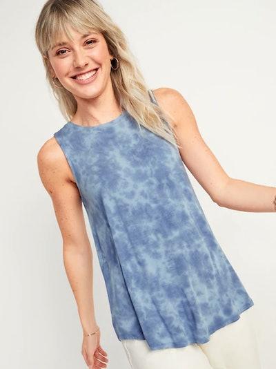 Luxe Tie-Dye High-Neck Tank Top for Women