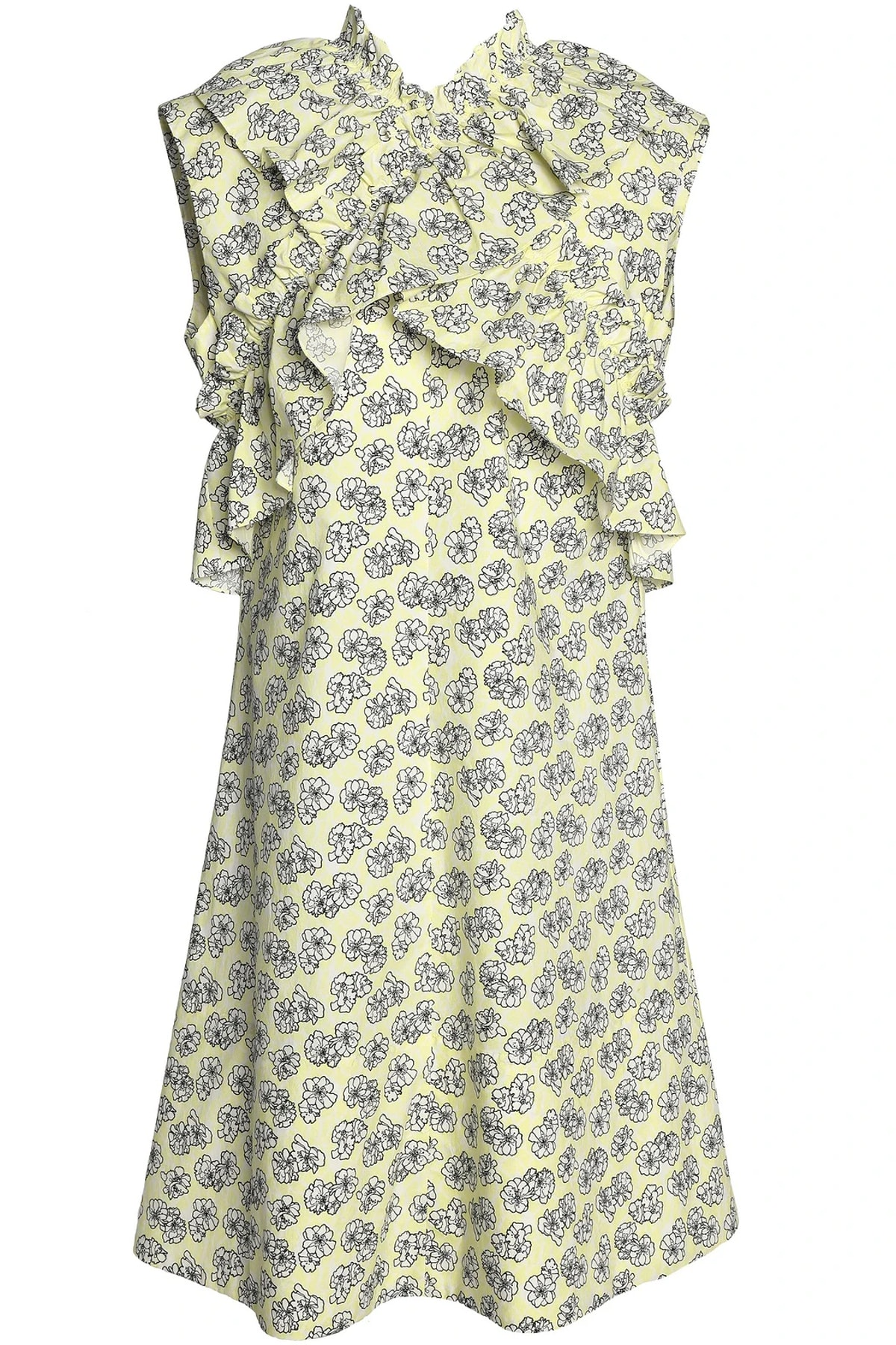 Crossover Ruffle-Trimmed Dress