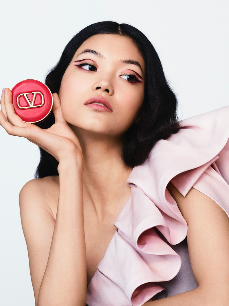 Valentino's makeup collection is set to launch later in 2021. Here, an image from the campaign showcasing a luxurious compact.