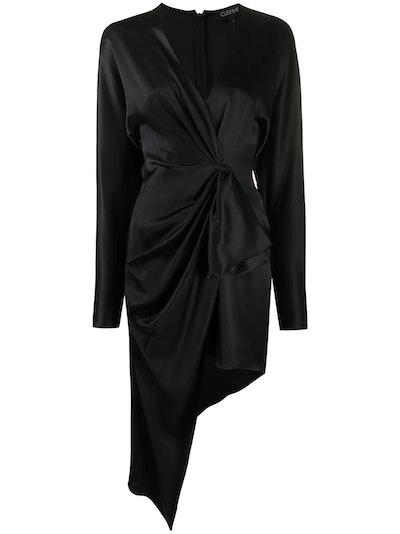 Draped Asymmetric Silk Dress
