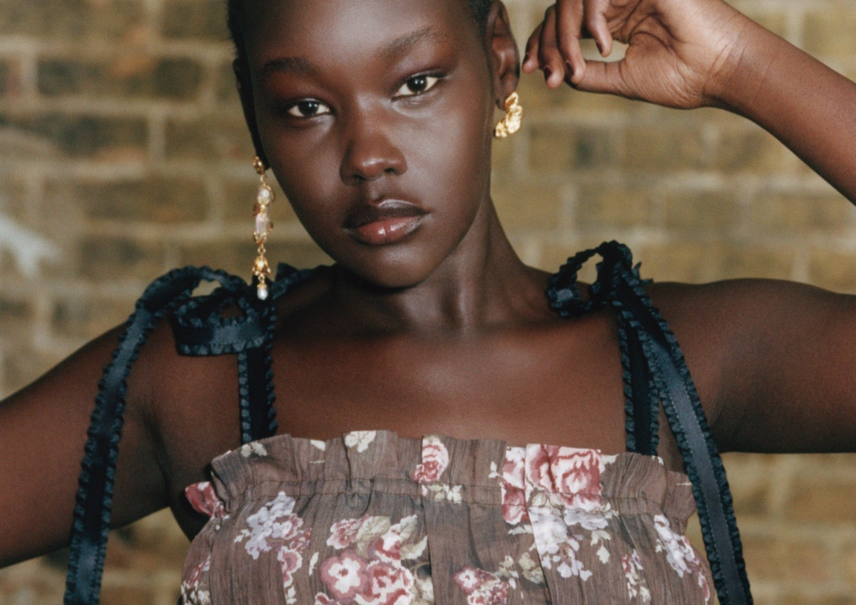 Model wears a garment from H&M x Brock Collection.