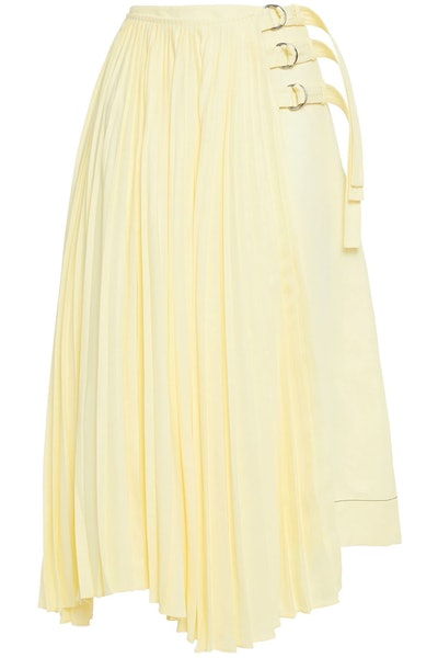 Asymmetric Pleated Buckle Wrap Skirt
