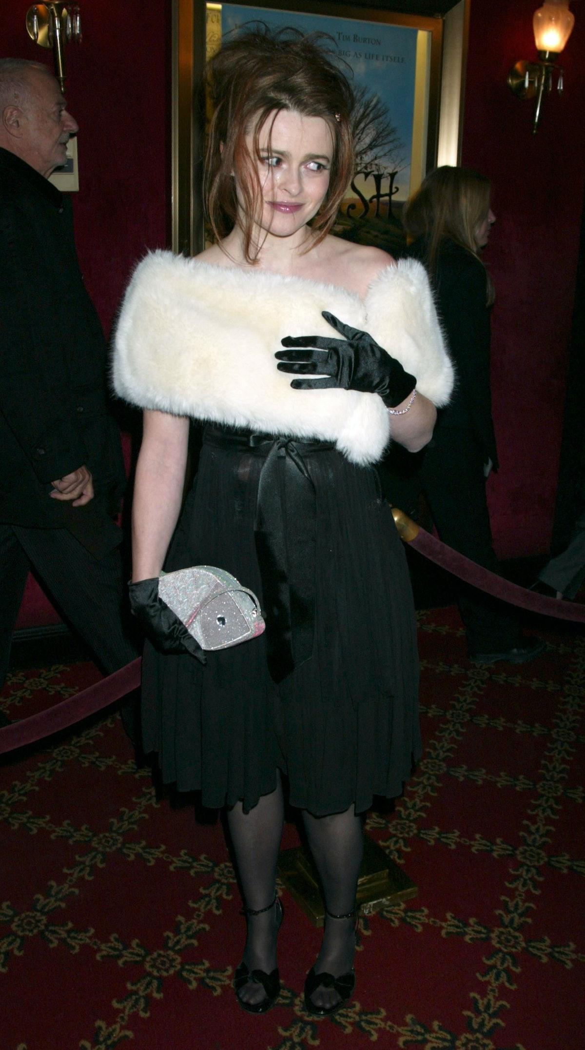 HBC wearing a fur stole