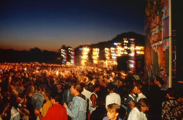 A rave in East Grinstead, England, 1989.