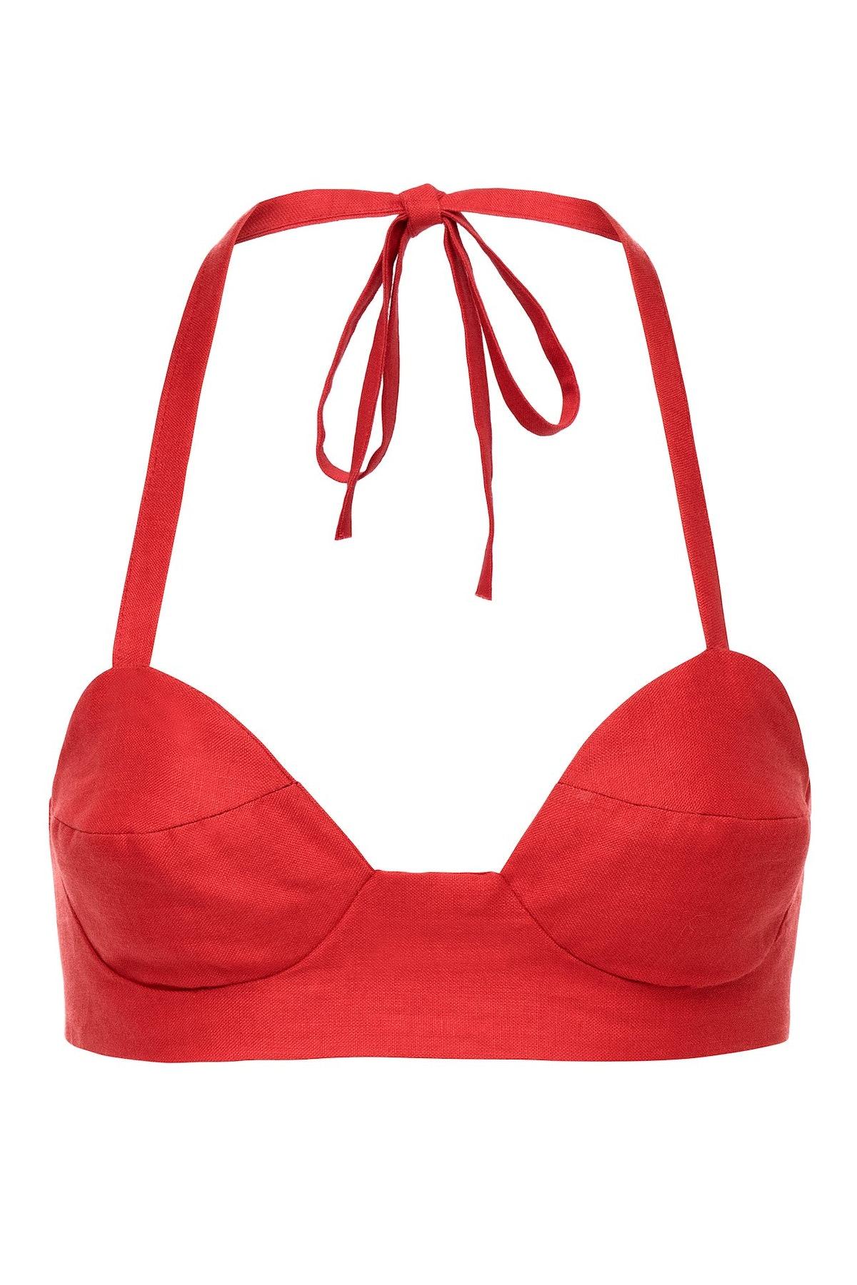 Red Rasta Linen Bralette