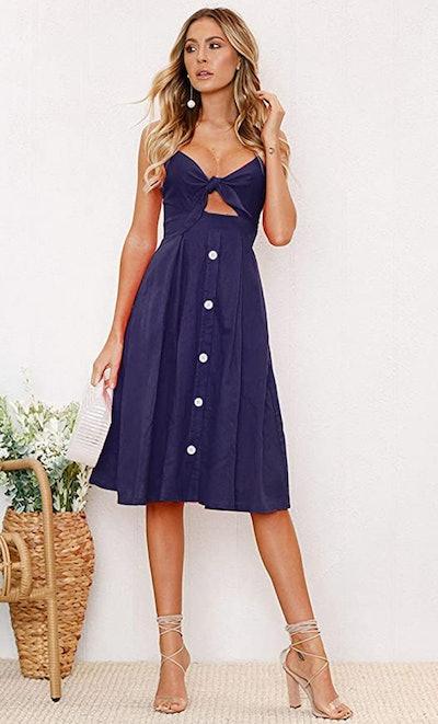 ECOWISH Tie Front Spaghetti Strap Button-Down Dress