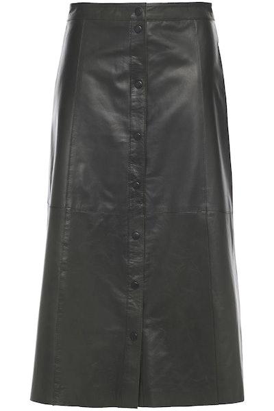 Popper Textured Leather Midi Skirt
