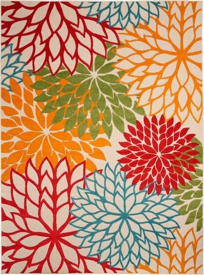 "Nourison Aloha Indoor-outdoor Floral Green Area Rug 5'3""x7'5"""