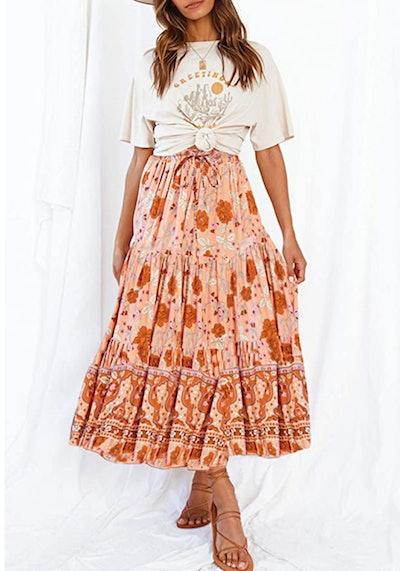ZESICA Floral Print A-Line Maxi Skirt