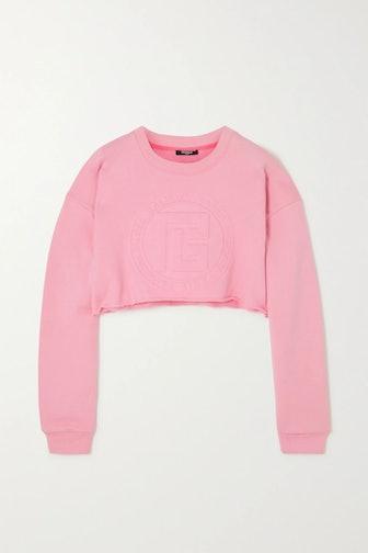 Cropped Embossed Sweatshirt