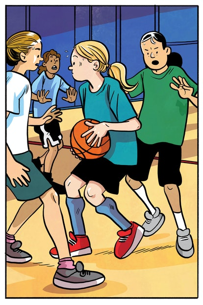 A cartoon illustration of the author's daughter playing basketball. She has a long blond ponytail and wears red sneakers.