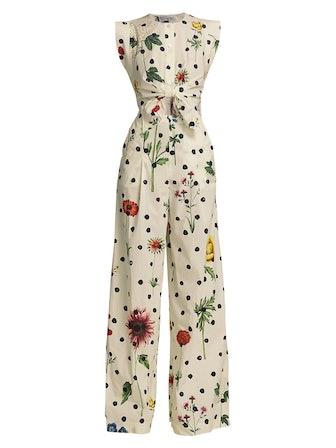 Tie-Front Floral Cutout Jumpsuit