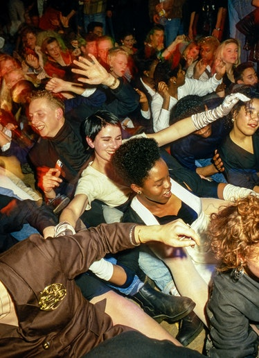 Revelers at Discotheque, London, 1988.